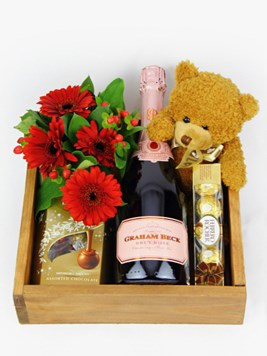 Snack & Gift Hampers: MCC with Chocs, a Teddy and Flowers