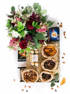 Snack & Gift Hampers: Decadent Jumbo Snack Box with Floral Arrangement