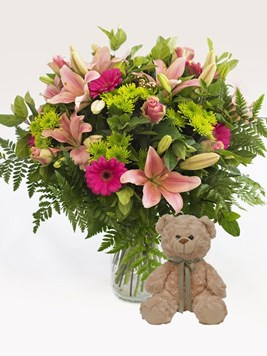Arrangements: Heavenly Pink Vase Arrangement with Teddy