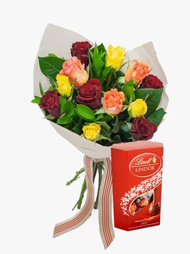 Bouquets: Perfect Mixed Rose Bouquet with Lindt Lindor