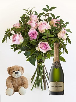 Bouquets: Pink Roses with small teddy & Graham Beck