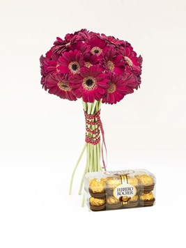 Bouquets: Red Gerbera Bouquet Ferrero Rocher