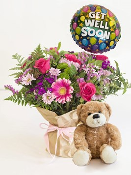 Arrangements: Get Well Soon with teddy and balloon