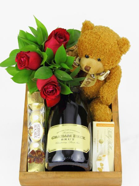 Snack & Gift Hampers: MCC with Roses, Nougat and a Teddy